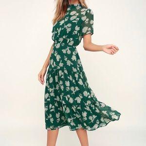 Lulus Floral Dressed Up Midi Dress